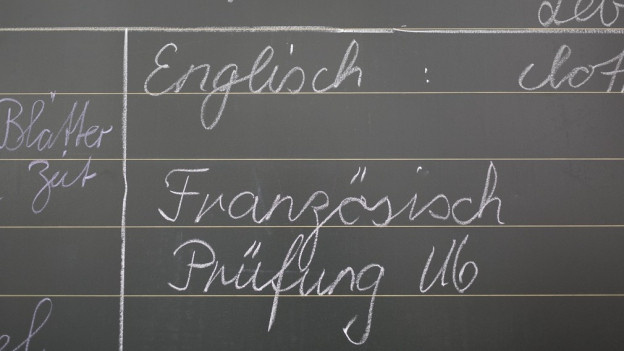 Schwarze Wandtafel mit Kreideschrift