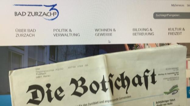 Bad Zurzach hat «die Botschaft» als amtliches Publikationsorgan. Die Infos findet man auch auf der Website der Gemeinde.