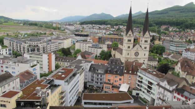 Stadt Olten von oben.