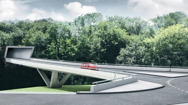 So soll die Südwestumfahrung Sins dereinst aussehen. Projektbild des Nordportals und der Bachtalbrücke.