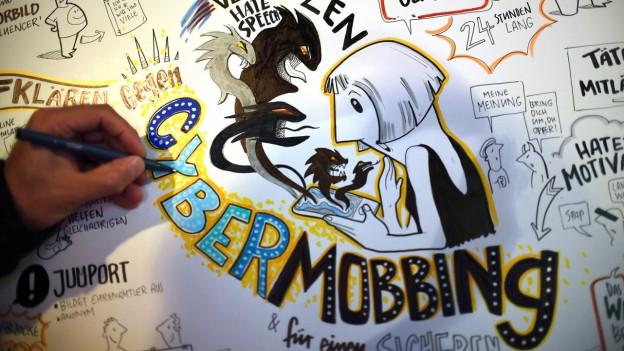 Schriftzug «Cybermobbing» an einem Symposium gegen Mobbing.