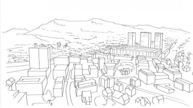 Skizze der Stadt Aarau mit Hochhäusern.