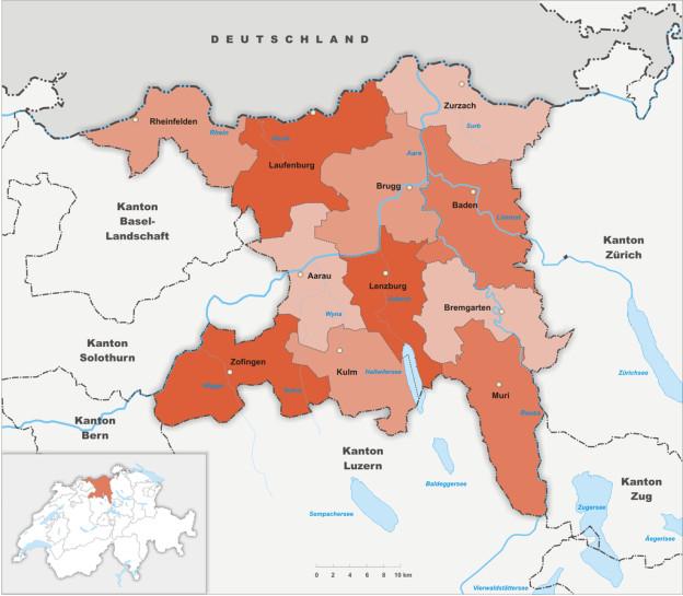 Karte des Aargaus mit den 11 Bezirken