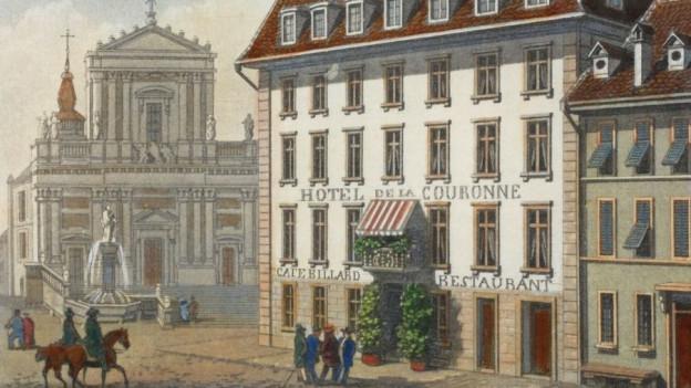 Das «Hotel de la Couronne», an bester Lage neben der Solothurner St. Ursen-Kathedrale, ist eines der ältesten Gasthäuser der Schweiz. Bereits 1418 stand hier eine Herberge, die «St. Ursenpinte».