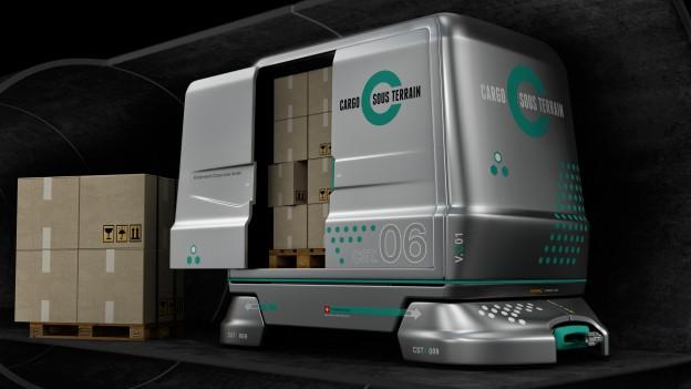 Mit futuristischen Fahrzeugen sollen Pakete durch unterirdische Tunnel transportiert werden.