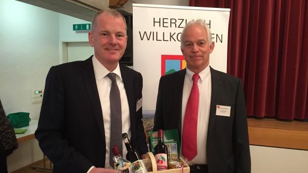 Regierungsrat Attiger trifft Christian Fricker von Fricktal Regio.