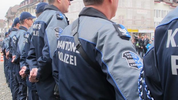 Polizisten der Kantonspolizei Aargau stehen in einer Reihe.