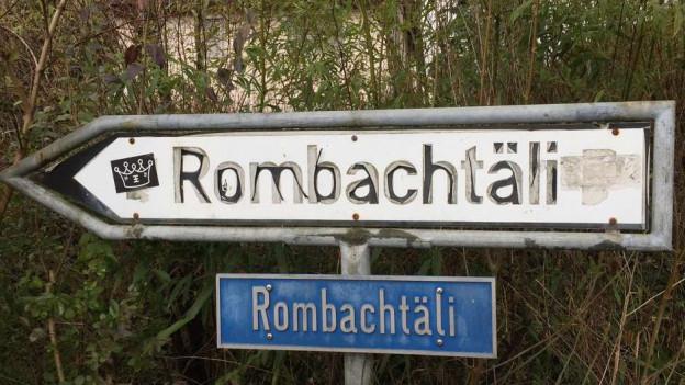 Wegweiser ins Rombachtäli.