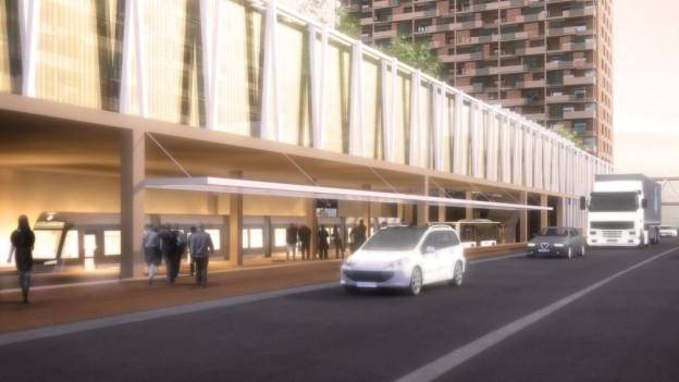 Die Haltstelle der Limmattalbahn soll ins Bauprojekt Tivoli Garten integriert werden.