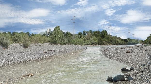 So soll die Emme bei Biberist 2022 aussehen, nach den Bauarbeiten für den Hochwasserschutz und der Revitalisierung.