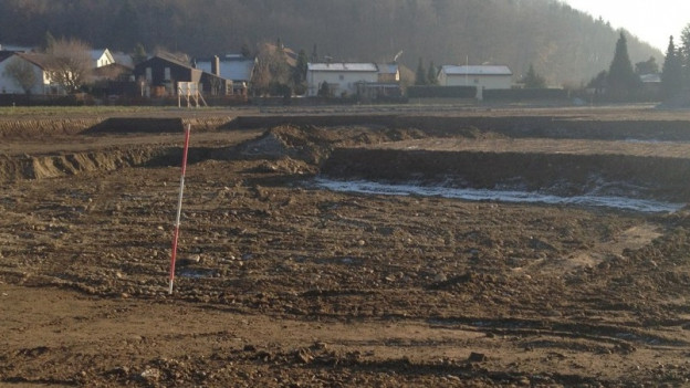 Baugrube für ein Mehrfamilienhaus in Staufen