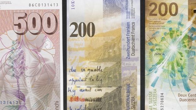 Verschiedenen Banknoten nebeneinander