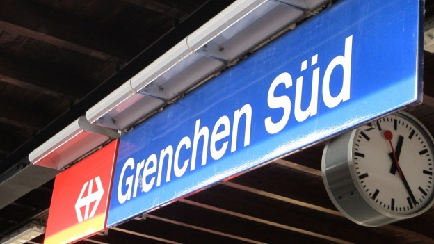 Bahnhofsschild von Grenchen Süd