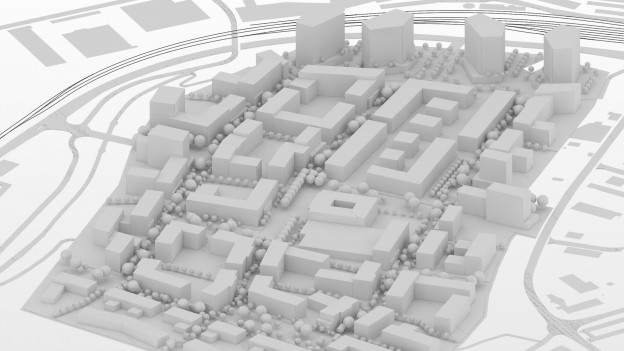 Modell eines Stadteils mit Hochhäusern.