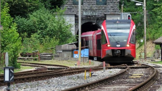 Zug fährt aus Tunnel.