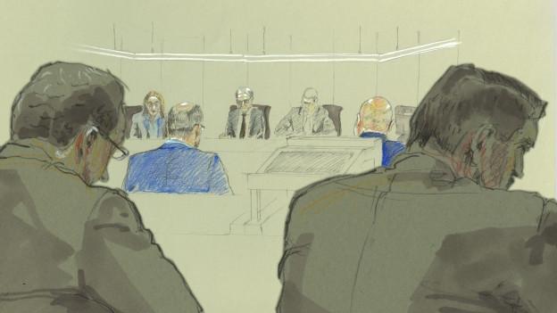 Gerichtsskizze eines Angeklagten.