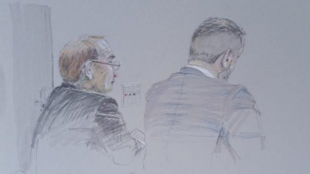 Gerichtszeichnung zeigt zwei Männer