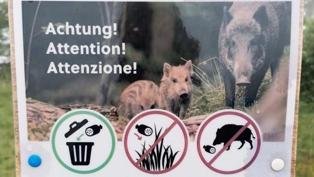 Mit Plakaten wird vor den Gefahren gewarnt