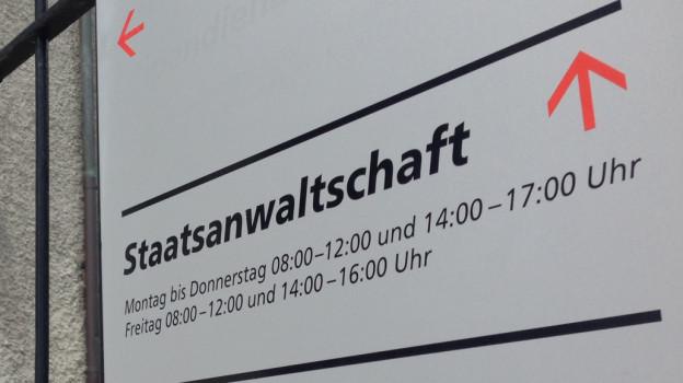 Ein Schild beim Eingang zur Staatsanwaltschaft Solothurn.