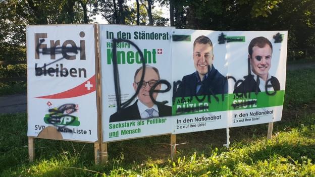 Verschmiertes Wahlplakat