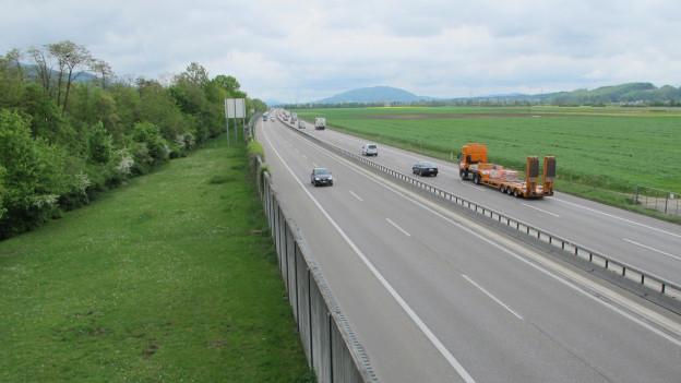 Die Autobahn A1 im Gäu in der Nähe von Oensingen.