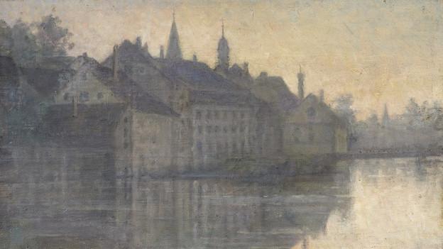 Gemaltes Bild: Stadtansicht mit Fluss.