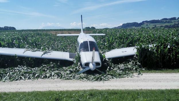 Notgelandetes Flugzeug.