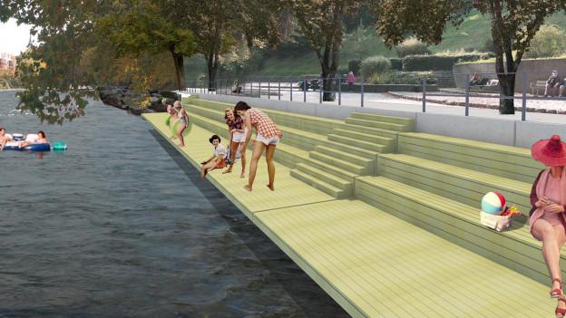 Visualisierung eines Badestegs am Fluss.