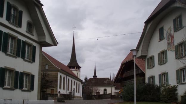 Im Dorfzentrum von Tafers - dem Hauptort des Sensebezirks.