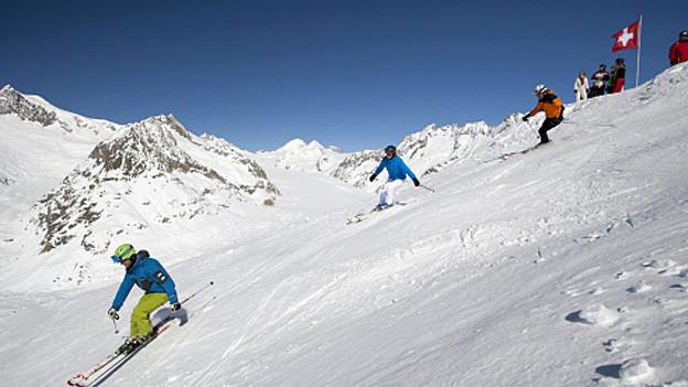 Für Europäer ist Skifahren, wie hier in der Aletschregion, teuer.