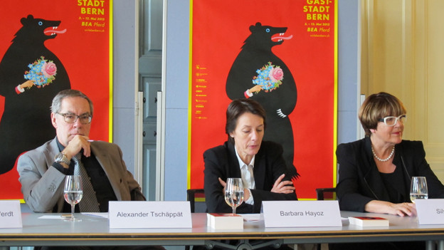 Bern an der BEA: Stadtpräsident Alexander Tschäpätt, Vereinspräsidentin Barbara Hayoz und Projektleiterin Silvia Müller