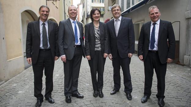 Die neue Walliser Regierung: die Wähler haben ihr ihre Haltung deutlich Kund getan.