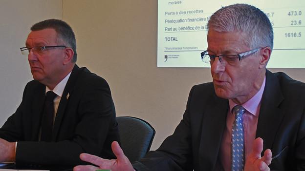 Finanzdirektor Georges Godel (links) und Finanzverwalter Daniel Berset präsentieren die Rechnung.