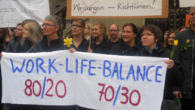 Die Freiburger Lehrer protestieren gegen die Abschaffung der Kleinstpensen.