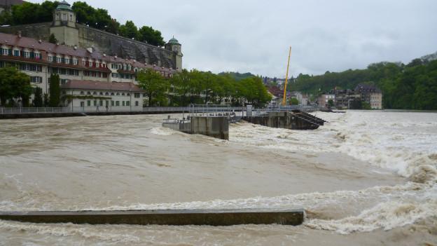 Die Aare führt Hochwasser: Mattequartier in Bern.