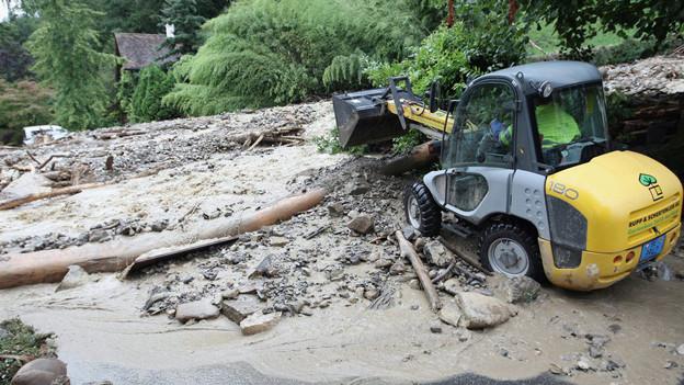 Die Strasse zwischen Gunten und Merligen wird immer wieder überschwemmt, wie hier im August 2007.