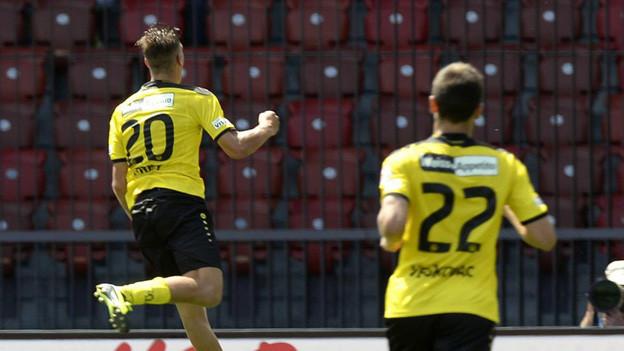 Der YB-Spieler Michael Frey bejubelt sein 2:0 gegen Zürich.