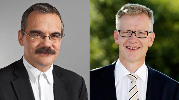 Jean-François Steiert (links) oder Jean-Pierre Siggen - wer tritt die Nachfolge von Isabelle Chassot an?