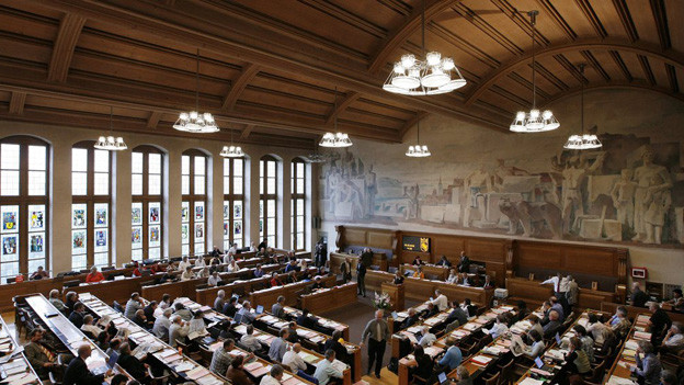 Blick in den Grossratssaal des Berner Rathauses.