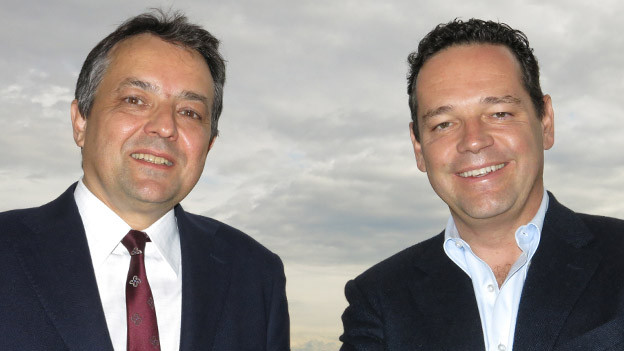 Nobelhotel-Chefs unter sich: Palace-Besitzer Andrea Scherz (links) trifft Bellevue-Direktor Urs Bührer.