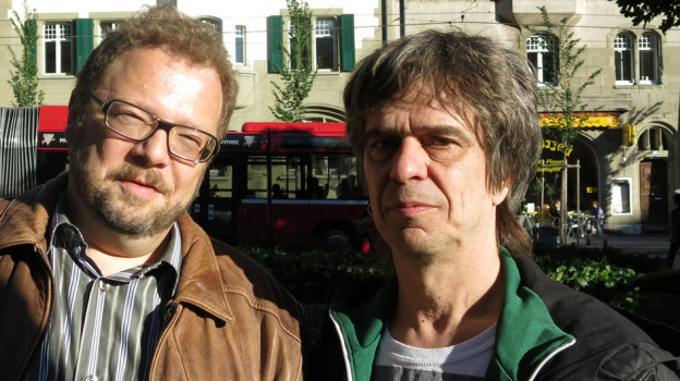Roli Röthlisberger und Pablo NIederberger beim SRF-Radiostudio.