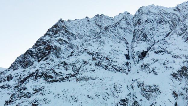 Blick auf einen Schneehang.