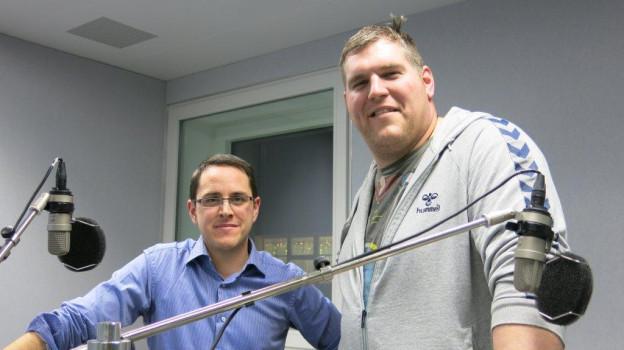 Christian Stucki neben SRF-Redaktor Thomas Pressmann.