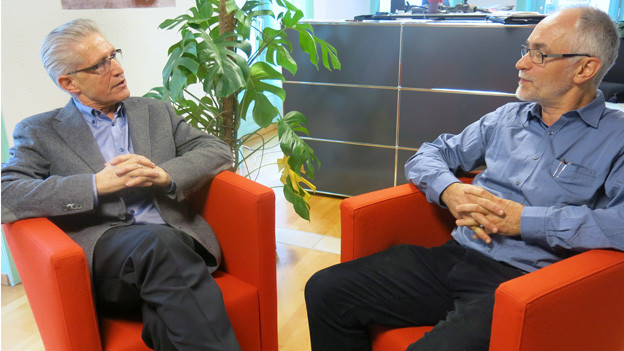 erner Wyss (links) und Markus Roggo im Studio Freiburg.