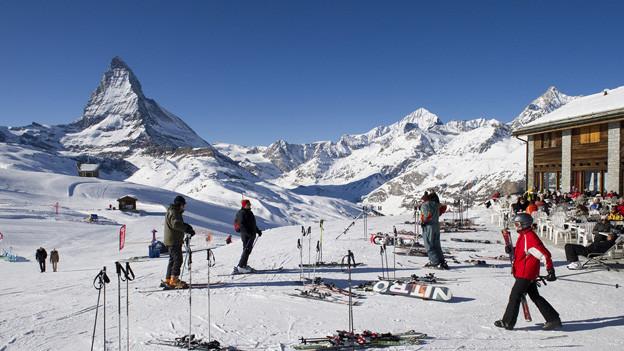 Skifahrer in Zermatt.