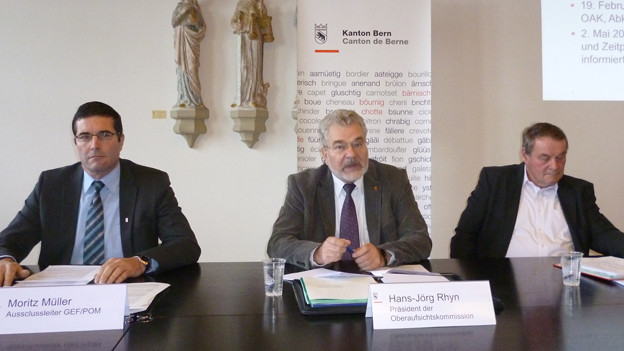 Die bernische Oberaufsichtskommission (v.l.n.r.) Moritz Müller, Präsident Hans-Jürg Rhyn, Vizepräsident Fritz Ruchti.
