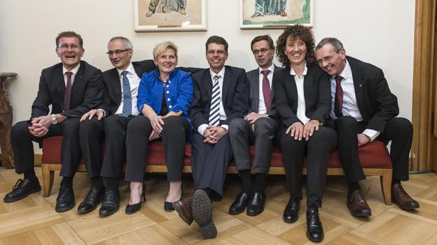 Die wiedergewählte Berner Kantonsregierung.