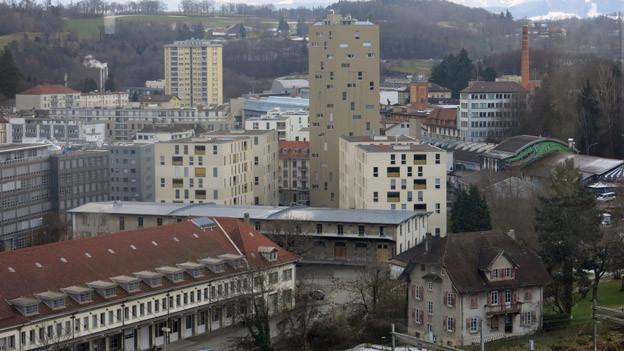 Verdichtetes Freiburg mit Blick auf das Perolles-Quartier.