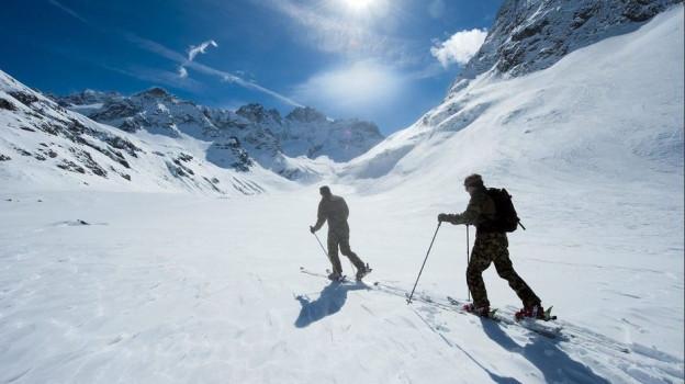 Skitourenfahrer unterwegs.