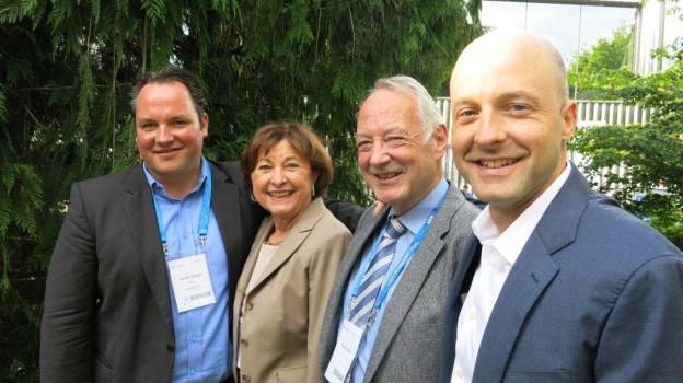 Die Unternehmerfamilie Chuard am SEF: Alain Chuard (rechts), Vater Claude, Mutter Doris und Bruder Olivier.